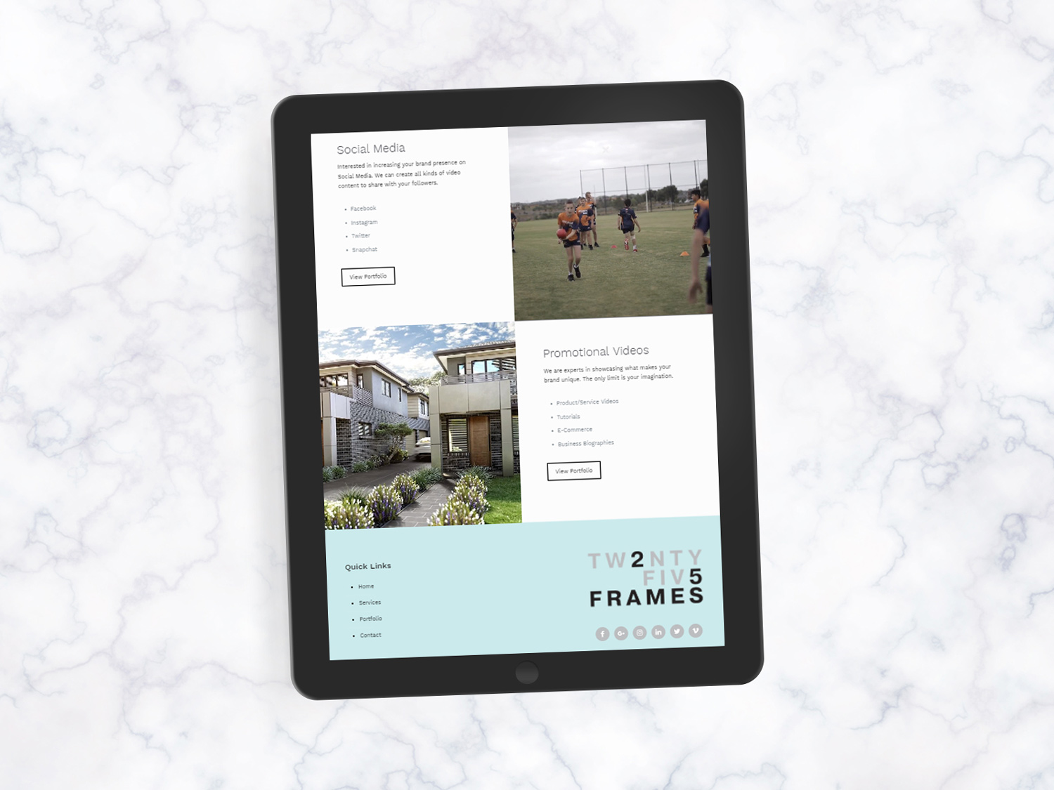 online tree ipad displaying 25 frames website on screen