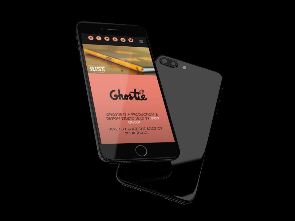 online tree iphone displaying ghostie website on screen
