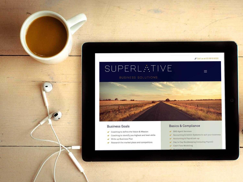 online tree ipad displaying superlative website on screen