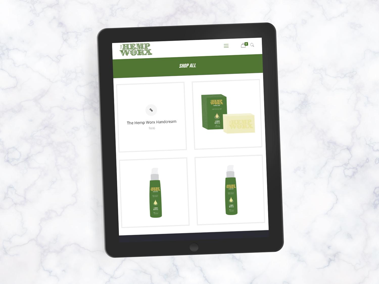 online tree ipad displaying hempworx website on screen