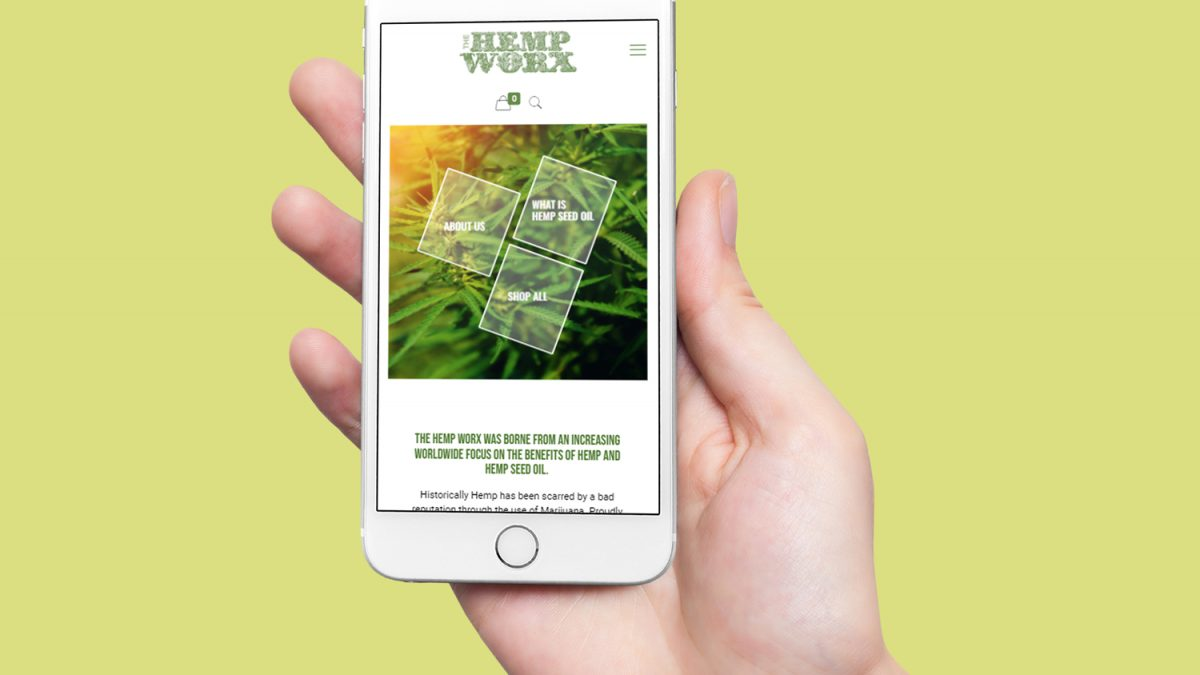 online tree iphone displaying hemp worx website on screen copy